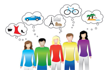 Illustration of people or consumer needs and wants