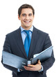 Businessman with black folder, isolated