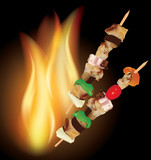 Grill kebab with flames background. meat and vegetables
