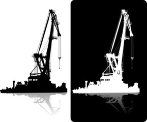 silhouette of floating port crane black and white