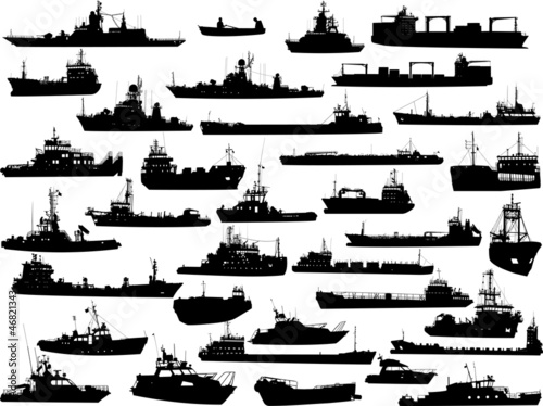 Set of 35 (thirty five) silhouettes ships