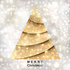 Golden Christmas tree on silver background