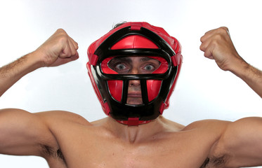 serious boxer with red helmet