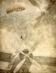 Grunge military background, retro aviation