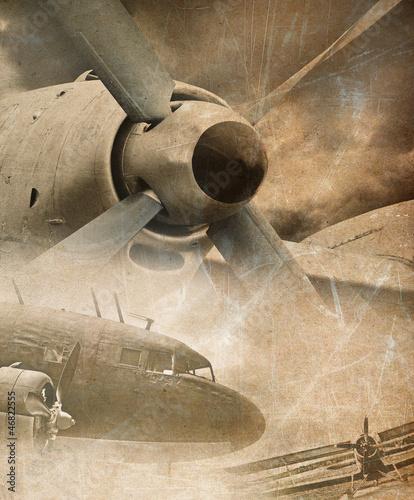Fototapeta Retro aviation, vintage background