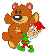 Christmas Elf & Teddy Bear