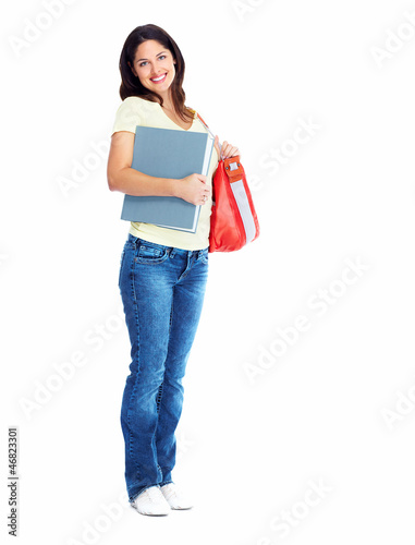Student girl with book.