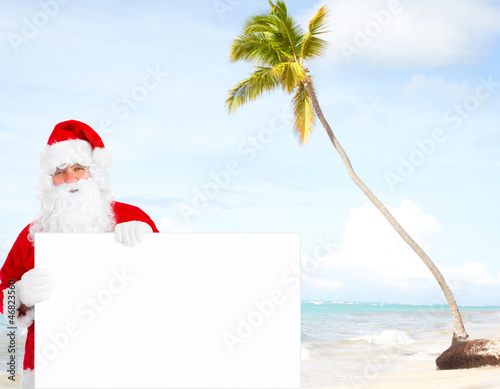 Santa claus with banner.