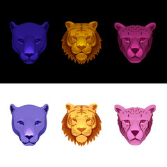 big cat set-tiger, cheetah, panther