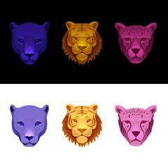 big cat set-tiger, cheetah, panther
