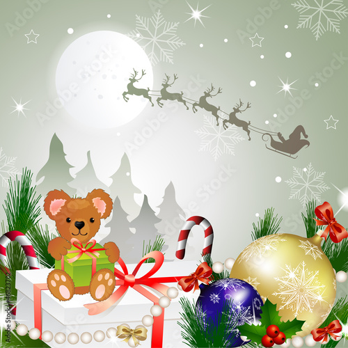 Beautiful Christmas with Santa and deer