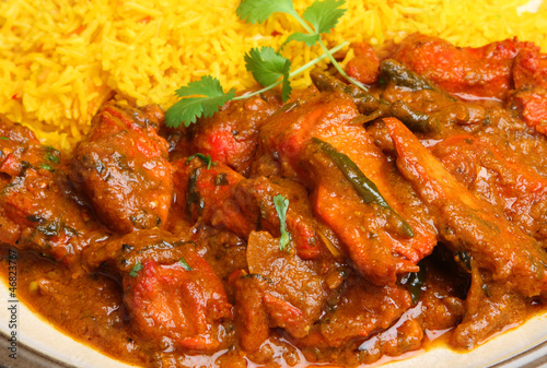 Indian Chicken Tikka Jalfrezi Curry with Rice
