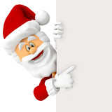 3D Happy Santa with a banner