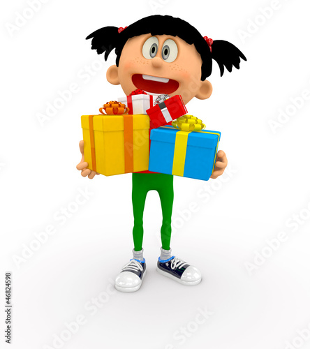 3D kid holding gifts