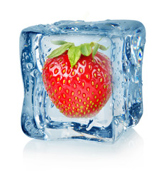 Ice cube and strawberry