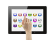 Hand pushing icon on tablet pc on white background