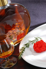 Cognac and caviar.