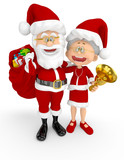 3D Santa and Mrs Claus