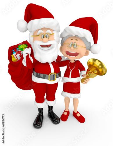 3D Santa and Mrs Claus