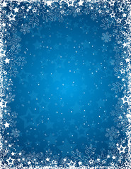 blue background with frame of snowflakes, vector
