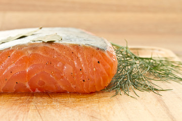 piece of salted salmon