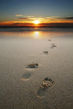 footprints in sand at beach