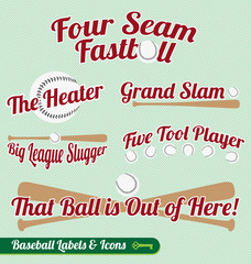 Vector Set: Baseball Bat and Ball Labels with Slogans