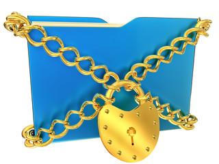 blue folder with golden hinged lock