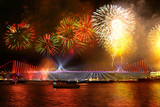 Fireworks over the Istanbul. View of Bosporus Bridge