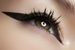Beautiful female eye with black liner makeup