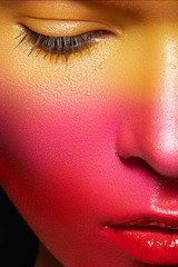 Beautiful model with magic creative fashion multicolored make-up