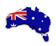 Australia Flag Map Shape