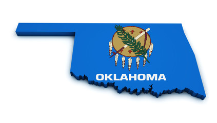 Oklahoma Map Flag Shape