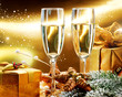 New Year Card Design with Champagne. Christmas Celebration