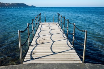 Wooden pier to a sea