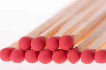 Set of red matches close up