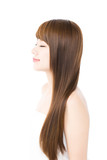Fototapety Beautiful hair woman on white background. Portrait of asian.