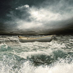 row boat in thunderstorm