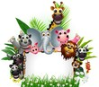 funny animal cartoon with blank sign and tropical forest