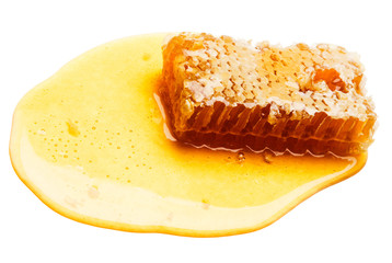 Close-up of honeycomb on honey