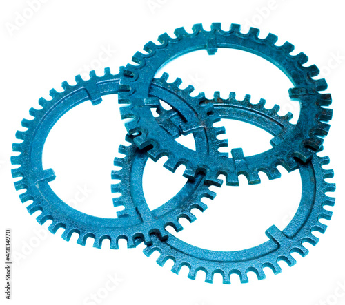 Gears of blue color