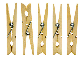 Close-up of clothespins