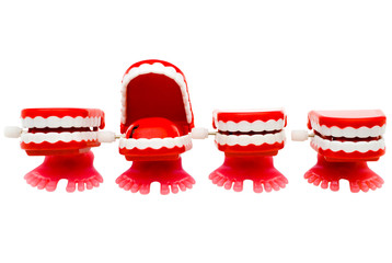 Set of dentures in row