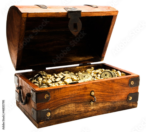Gold nuggets and coins in chest box