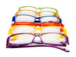 Colorful eyeglasses in row