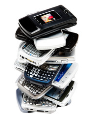 Mobile phones in stack