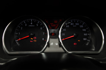 Car instrument panel Illuminated in night.