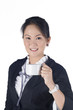 Portrait of attractive young business woman hold a cup of coffee