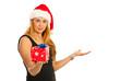 Beauty Santa woman making presentation