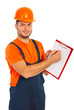 Worker man showing clipboard